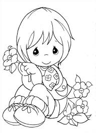 Small Picture Little Girl holding a flower Coloring pages Pinterest