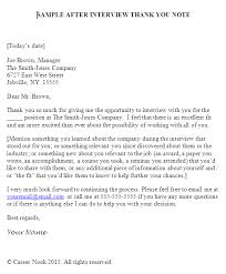 Thank You Note To Interviewer Resume And Cover Letter Resume And