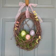 easter wreath nest with le easter eggs and spanish moss with fl