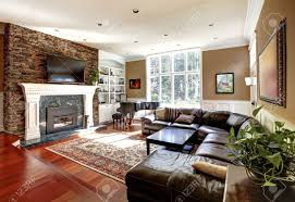 Of Living Rooms With Leather Furniture Luxury Living Room With Stobe Fireplace And Leather Sofas Cherry