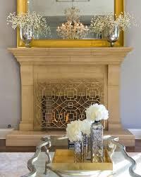 gold twig fireplace screen flat modern screens living room traditional geometric rose