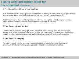 Bar attendant application letter