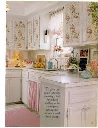 Shabby Chic Kitchen Furniture Floral Wallpaper With Roses On Cupboards Attractive Displays On