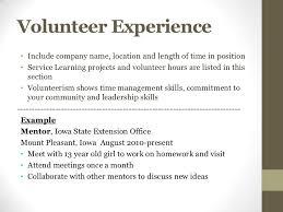 Resume Volunteer Experience Example Volunteer Experience On Resume