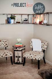 decorative wall ladder charming wooden ladder bookshelf on white wall plus sofa set on cream tile