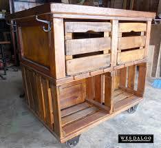 Apple Crate Rustic Farmhouse Kitchen Island Cart Kitchen island