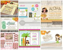 from top left going clockwise luau birthday invitation from design d to party aloha luau party package from tania s design studio vine luau