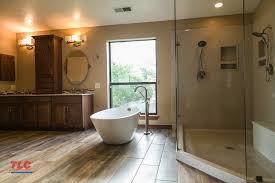 beautiful remodeled bathroom with modern woodfloor