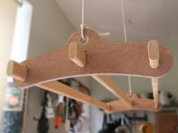 3 lath wooden hanging clothes drying rack or pot rack ceiling mounted plywood winter
