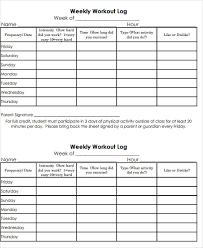 printable weekly workout log