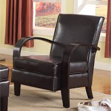 copper grove jessup brown bonded leather accent chair with wood arms free today 20340170