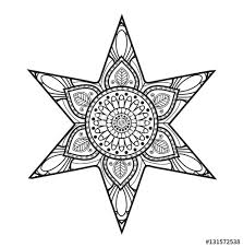 vector ilration of black and white mandala star for coloring book stella mandala in bianco