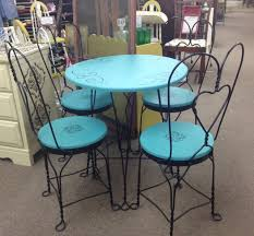 Painted Table And Chairs Antique Ice Cream Parlour Table And 4 Ice Cream Parlor Chairs And Table