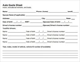 Auto Quote Magnificent Auto Quote Sheet Seatledavidjoelco