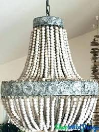 wood bead chandelier small beaded pottery barn for wooden com le world market rustic wayfai