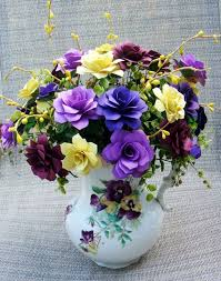 Paper Flower Arrangements Paper Flower Arrangement In A Pansey Upcyled Vase With Purples And