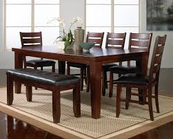 solid wood stripes lacquered brown dining table furniture design walnut material dark brown leather bench and chairs on contemporary broken white fur rug