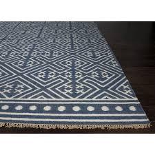 jaipur rugs batik 8 x 10 flat weave wool rug in blue and ivory