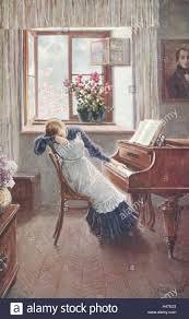 nostalgia painting woman piano sitting sad unhappy postcard nostalgic