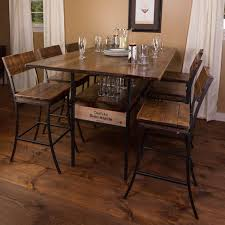 vino vintage farm style pub table with 6 pub chairs wine enthusiast with regard to measurements