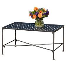 Petra Rectangle Iron Patio Coffee Table Black Christopher
