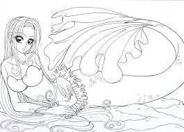 Realistic Mermaid Coloring Pages For Adults