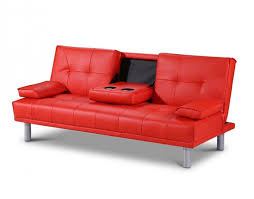 sleep design manhattan red faux leather sofa bed