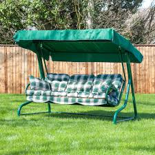 garden swing seat cushions uk. roma 3 seater swing seat - green frame with classic cushions garden uk x