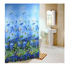 hot 180 180cm sea life waterproof fabric bathroom shower curtain light blue with 12pcs curtain