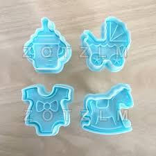 4pcs Set Cartoon Baby Series Plastic Cookie Cutters Biscuit