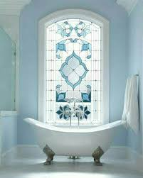 Stained Glass Window Designs For Bathrooms Blue Vintage Bathroom Decor With Stained Glass Window