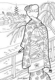 冬の京都の舞妓さんの塗り絵の下絵画像