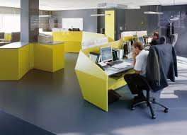 incredible cubicle modern office furniture. 16 incredible office interior design ideas for your inspirations corporate with yellow desk also black chairs cubicle modern furniture d