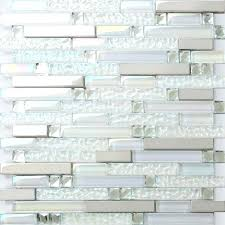 white glass subway tile backsplash with grey grout metal iridescent silver mirror stainless