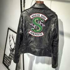 details about riverdale southside serpents pink black leather jackets women coat