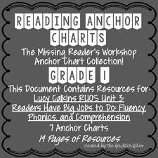 Lucy Calkins Reading Workshop Anchor Charts 1st Grade Ruos Unit 3