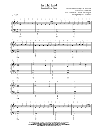 The list of free notes is constantly updated, mainly represented by the arrangements of the piano. In The End By Linkin Park Piano Sheet Music Intermediate Level