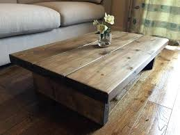 solid wood coffee table set chunky rustic coffee table oak stain solid wood hand made in