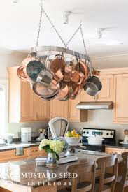 Pot Rack With Lights Home Depot Hanging The Pot Rack Miss Mustard Seed