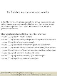 Top 40 Kitchen Supervisor Resume Samples Best Kitchen Supervisor Resume Sample