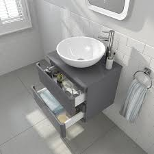 wall hung vanity unit with countertop basin grey
