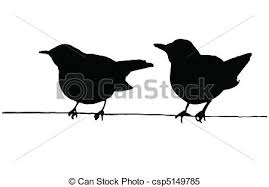 two bird silhouette. Perfect Two Two Birds On The Wire Vector Silhouettes On Two Bird Silhouette L