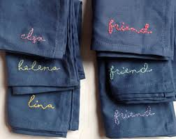 custom personalized napkins. blue cloth napkins custom embroidered colorful personalized linen