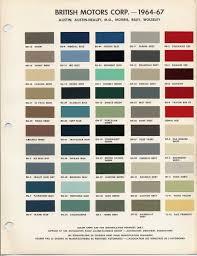 Austin Healey Color Chart Auto Paint Codes Austin Healey Morris Riley