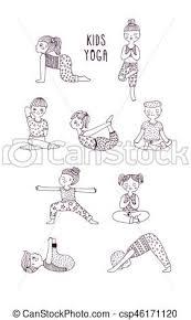 Bambini Yoga Illustration Eseguire Set Mano Vettore Pose