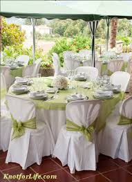 Simple white with sheer green table linens (except white carnations &  tea-light centerpieces