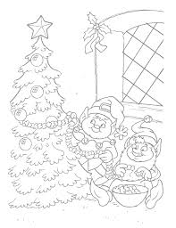 Decorating Tree Christmas Elf Coloring Pages Christmas Coloring