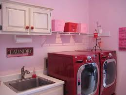 Decorations:Small Laundry Room Idea With Green Paint Wall Color Idea  Beautiful Pink Color Theme