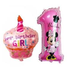Baby Girl Boy First 1st Birthday Cake 40 Number 1 Shape Foil