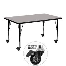 school rectangle table. Flash Furniture XU-A2448-REC-GY-H-P-CAS-GG Mobile Rectangular Activity Table With High Pressure School Rectangle